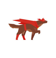 Superhero dog character super dog dressed in red vector