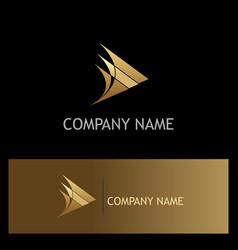 triangle arrow curve gold company logo vector image