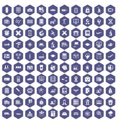 100 globe icons hexagon purple vector