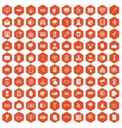 100 security icons hexagon orange vector image vector image
