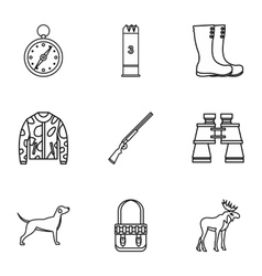 Shooting at animals icons set outline style vector