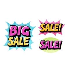 Big sale set icons comic text pop art style vector