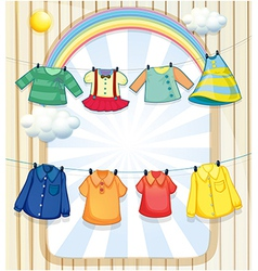 Washed clothes hanging under the heat of the sun vector
