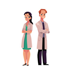 Male and female doctors in medical coat with arms vector