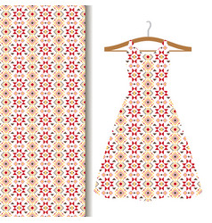 women dress fabric with red mosaic vector image