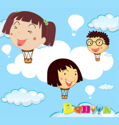 Balloons with children head in the sky vector
