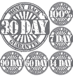 Money back guarantee grunge stamps set vector image