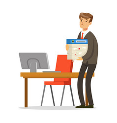 successful businessman standing in his office and vector image