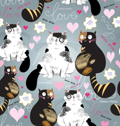 Bright pattern with enamored cats vector