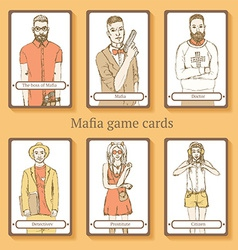 Sketch mafia cards in vintage style vector