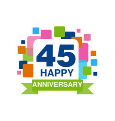 45th anniversary colored logo design happy vector image vector image