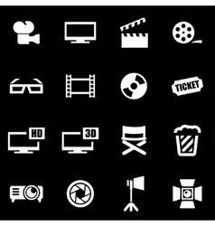 White cinema icon set vector