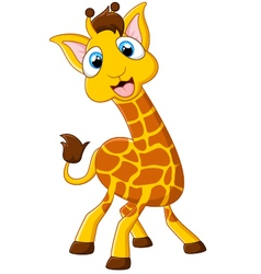 Cartoon giraffe posing vector
