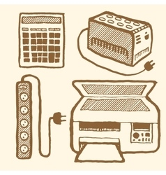 Office technics set vector