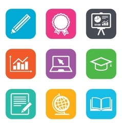 Education and study icon presentation signs vector