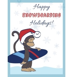 Happy snowboarding holidays snowboarder vector