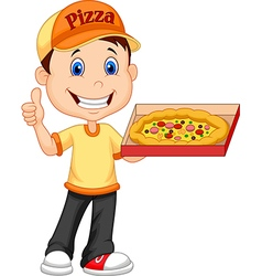 Cartoon deliver boy with pizza isolated vector