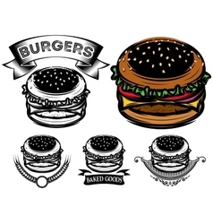 Monochrome and color burger with design options vector