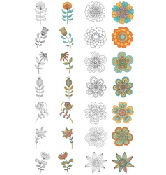 Set of abstract floral elements vector