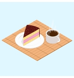 Coffee with piece of cake vector