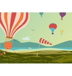 Landscape with hot air balloons vector