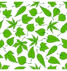 Spring green leaves seamless pattern background vector
