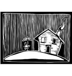 Rain house vector image