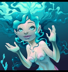 Portrait of a mermaid in the sea vector image