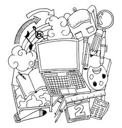 School element doodle art flat vector