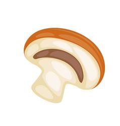 A half of raw mushroom vector