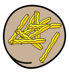 A Pile of French Fries on Round Brown Background vector image