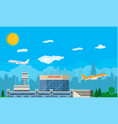 airport control tower terminal building vector image