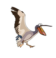 Cartoon bird pelican runs with open beak vector