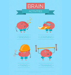 Cartoon brain activities poster vector
