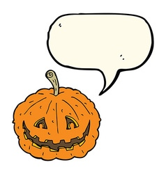 Cartoon grinning pumpkin with speech bubble vector