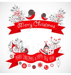Christmas greeting banner with decorative elements vector image vector image