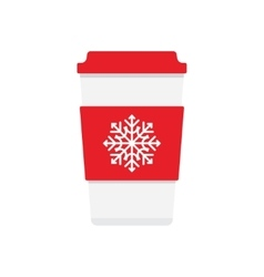 Coffee cup icon with snowflake logo vector