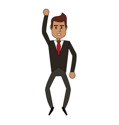 Color image cartoon full body executive man with vector
