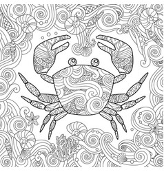 Coloring page ornate crab isolated on white vector