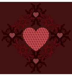 Dark red hearts ornament vector image vector image