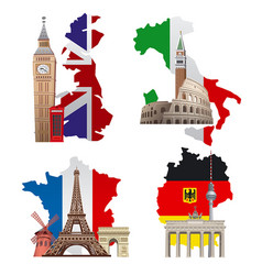 europe landmarks and maps vector image
