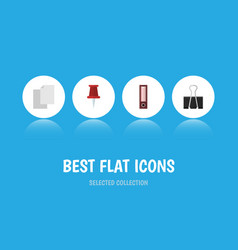 Flat icon tool set of dossier pushpin paper clip vector