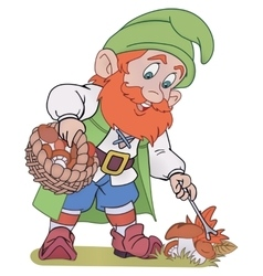 Gnome with basket vector