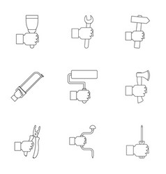 hand instrument icon set outline style vector image vector image