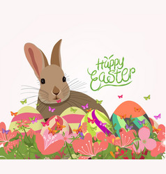 Happy easter eggs invitation with rabbit abstract vector