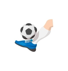 Leg kicks the ball cartoon icon vector