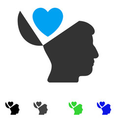 Open mind love heart flat icon vector