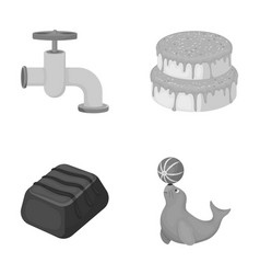 Plumbing food and other monochrome icon in vector
