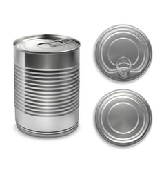 realistic preserve cans collection vector image