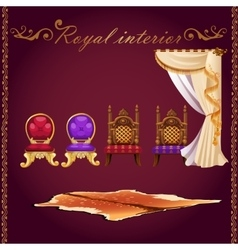 Rich interior bear pelt chairs and curtain vector image vector image